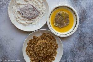 Prep boneless pork chops: coat with flour, beaten eggs and toasted panko