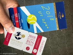 US Open Tennis ticket and bus ticket by Steve Furgal tour