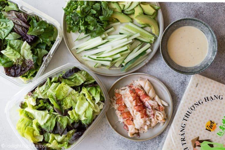 Ingredients for lobster fresh spring rolls