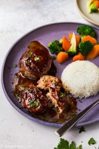 Japanese Hamburg Steak (Hambagu) is one of the easiest Japanese dishes to cook at home. The meatballs are juicy, tender and served with a tasty ketchup-based sauce. Serve with rice and steamed vegetables.
