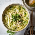 This Vietnamese Chicken Vermicelli Noodle Soup is light yet comforting and delicious. It only takes an hour to cook it.