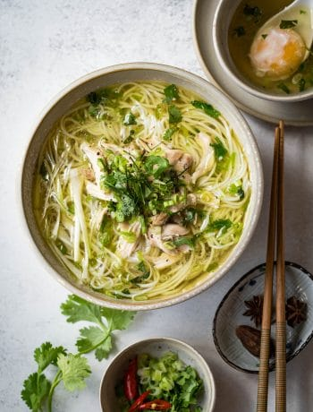 This Vietnamese Chicken Vermicelli Noodle Soup (Bun Ga) is light yet comforting and delicious. It is a perfect noodle soup for all year round, whether it's summer or winter.