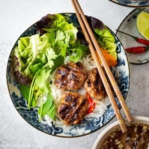 Vietnamese Grilled Pork Meatballs with Vermicelli Noodles (Bun Cha)