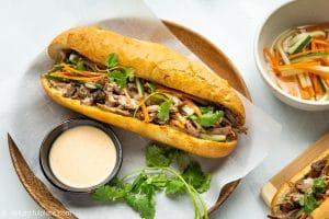 Slow Cooker Vietnamese Pulled Pork Banh Mi Baguette