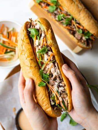 Slow Cooker Vietnamese Pulled Pork Banh Mi