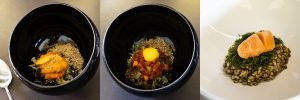 Jungsik bibimbap rice course (from left to right: uni, yukhoe and myungran)