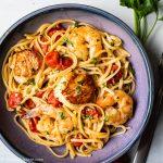 Scallop shrimp pasta with burst cherry tomatoes 1