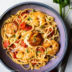 Scallop shrimp pasta with burst cherry tomatoes 1