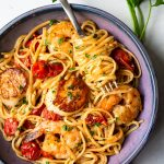 Scallop Shrimp Pasta with Burst Cherry Tomatoes