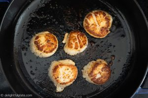 Sear scallops for pasta
