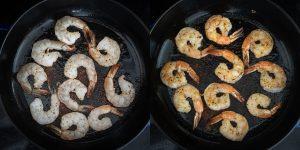 Searing shrimps