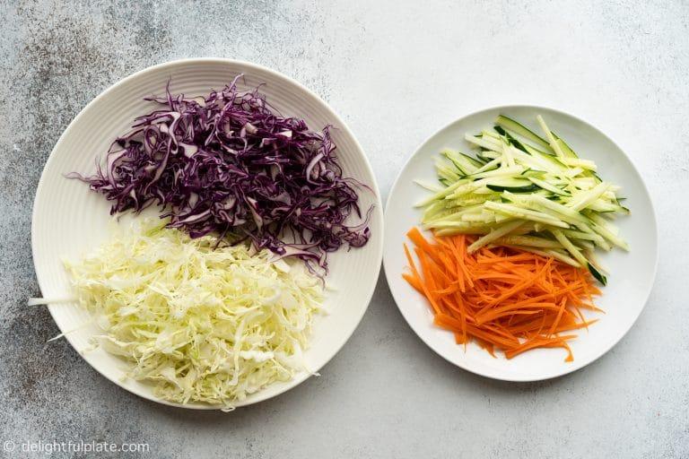 Shredded vegetables for Spicy Beef Soba Noodle Salad