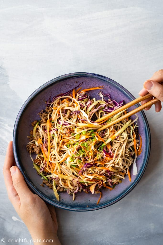 This Spicy Beef Soba Noodle Salad is not only quick and easy to make but also healthy and fulfilling. It features beef, soba noodle, lots of fresh and crisp vegetables and a spicy gochujang-based dressing inspired by Korean flavors.