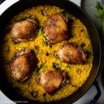 One Pan Chicken and Turmeric Rice with Asian flavors
