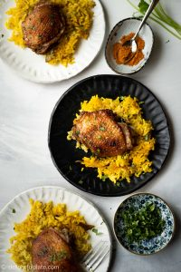 This One Pan Chicken and Turmeric Rice with Asian flair features tender chicken and fragrant yellow turmeric rice. Incredibly delicious and healthy! This easy one pan recipe is perfect for busy weeknight dinner.