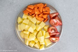Potatoes, carrots and tomatoes