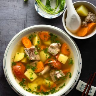 Pork Rib Soup with Potatoes and Carrots (Stovetop & Pressure Cooker)
