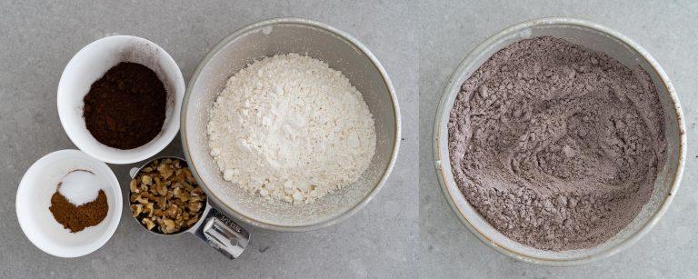 Dry ingredients for Chocolate Walnut Banana Bread