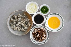 Ingredients for mushroom oyster rice bowl (oyster donburi)