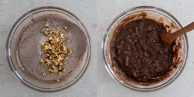 Mix the batter of chocolate walnut banana bread