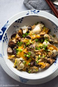 This Mushroom Oyster Rice Bowl (Oyster Donburi) features sweet and plump oysters and earthy shiitake mushrooms, simmered in an umami sauce and then served with fluffy steamed rice. A delicious, easy and healthy one-bowl meal that comes together in less than 30 minutes.