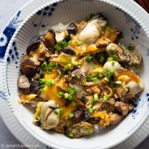 Mushroom Oyster Rice Bowl (Oyster Donburi) - an healthy, easy and delicious one-bowl meal