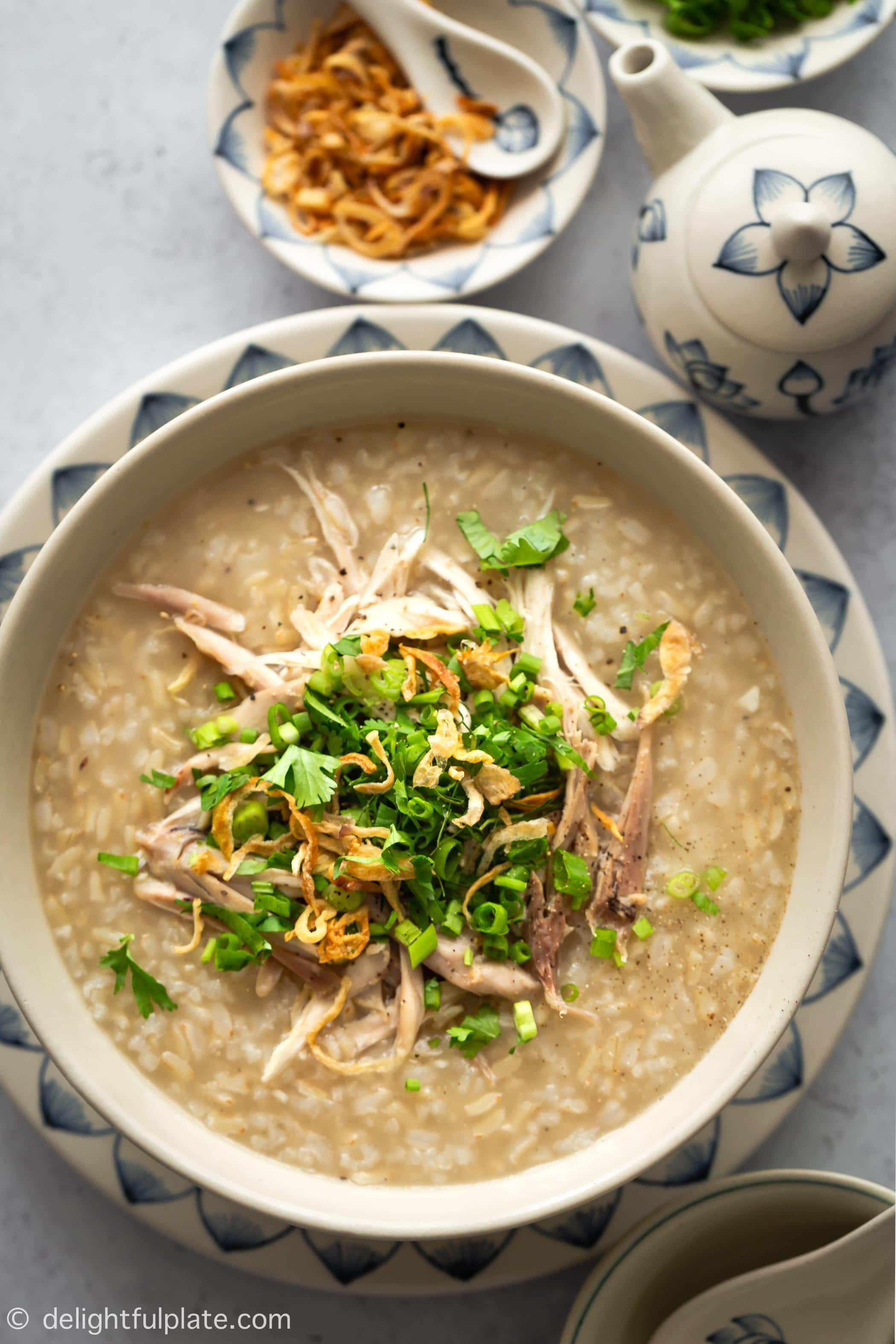 This Vietnamese Chicken Congee with Brown Rice is an easy and healthy dish to cook in your pressure cooker (such as an Instant Pot). It is Vietnamese classic comfort food.