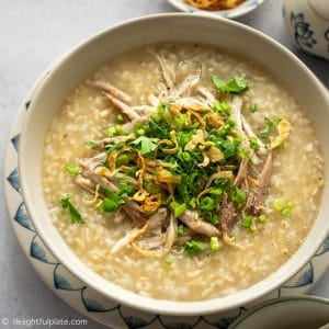 Pressure Cooker Vietnamese Chicken Congee with Brown Rice. A healthy, comforting and delicious dish to make in your Instant Pot.
