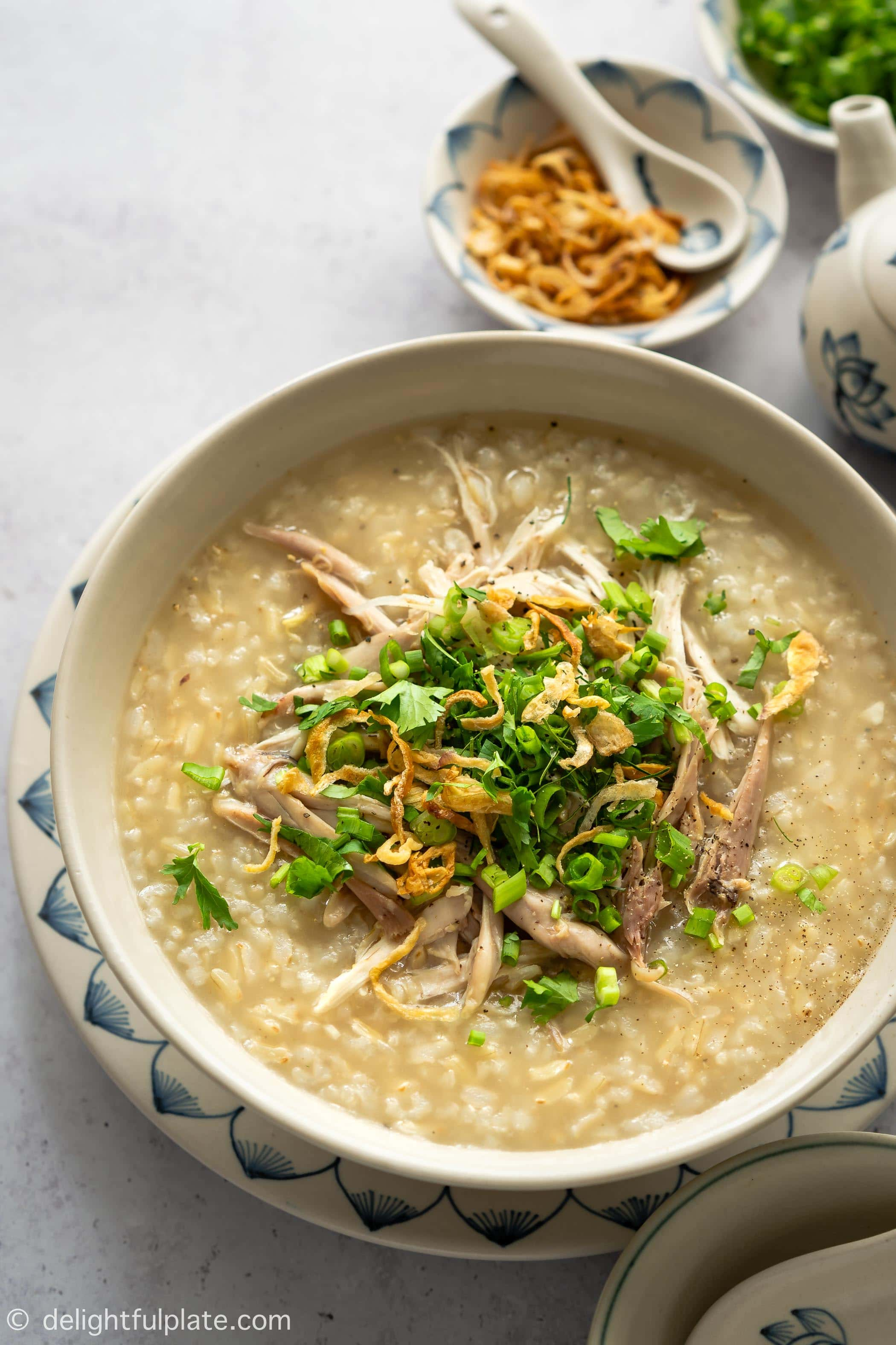 This Chicken Congee with Brown Rice is a classic Vietnamese congee made in a healthier and more flavorful way. Cooking this congee with a pressure cooker such as an Instant Pot yields a perfect creamy texture in a short amount of time. Very easy and tasty!