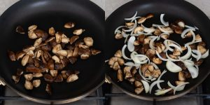 Saute mushrooms and onions for oyster donburi