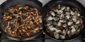 Simmer mushrooms, onions and oysters for oyster donburi