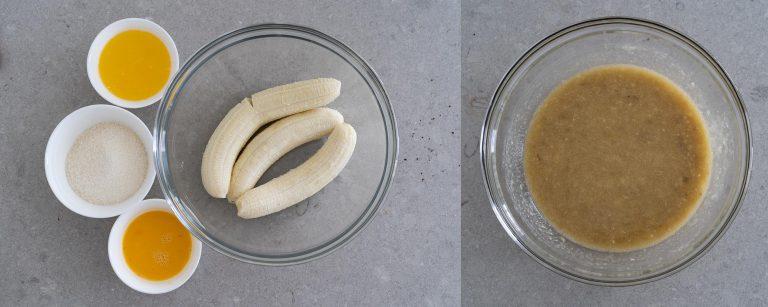 Wet ingredients for Chocolate Walnut Banana Bread