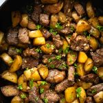 This Asian Steak Bites and Potatoes recipe features seared beef cubes and potatoes in a garlicky butter and soy-based sauce. It comes together in under 30 minutes and everything is cooked in just one pan. Easy weeknight dinner!