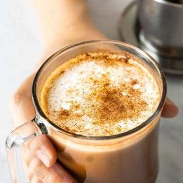 This easy homemade Caffè Mocha is a perfect drink to start your day. It has the aroma and intensity of Vietnamese coffee, combined with a chocolatey flavor.