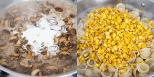 Putting together mushroom corn pasta