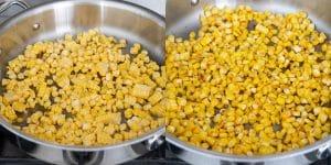 Sauté corn kernels for mushroom corn pasta