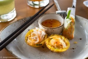 Afternoon tea at Azerai Can Tho: banh khot and fresh spring rolls.
