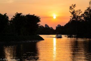 Sunset on Hau river from Azerai Can Tho pier
