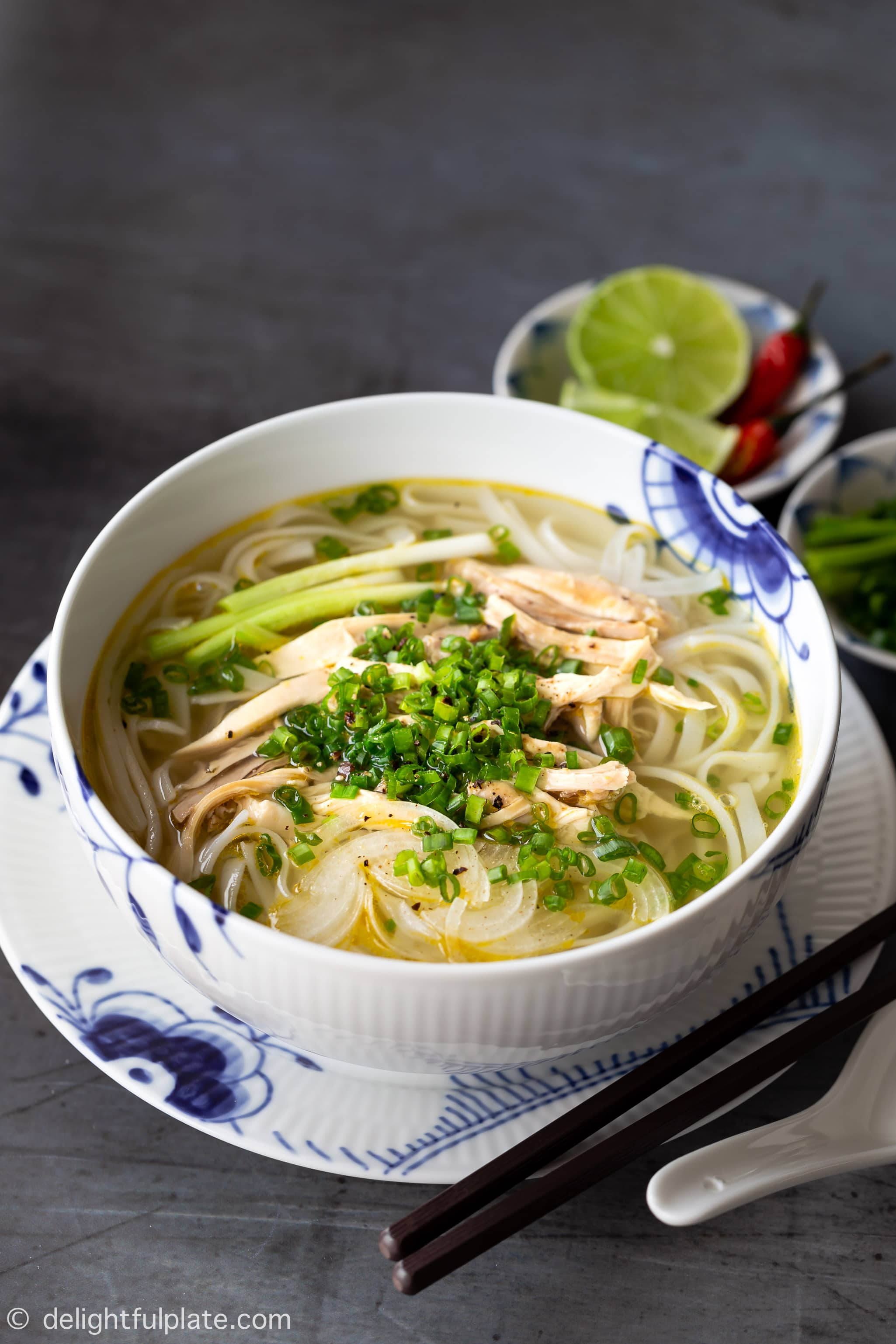 Authentic Pho Ga Vietnamese Chicken Noodle Soup Delightful Plate