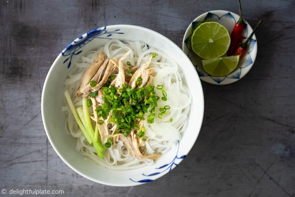 How to Arrange a Bowl of Pho Ga (Vietnamese Chicken Noodle Soup): place chicken meat on top of noodles, add scallions, onion slices, black pepper and broth.