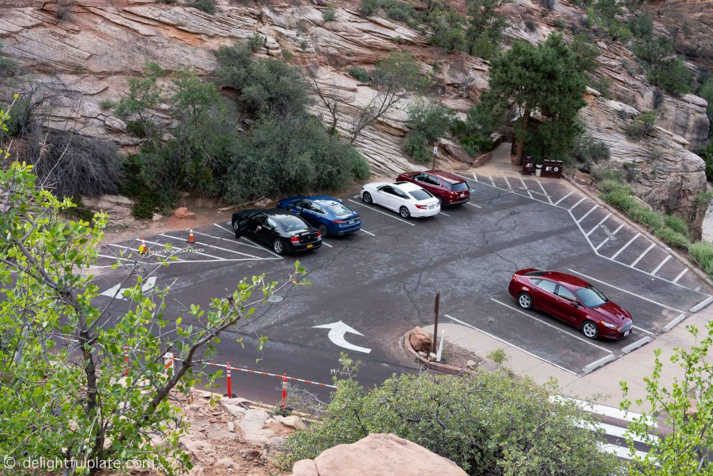 The small parking lot near the Canyon Overlook trail.