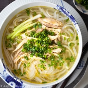 Authentic Pho Ga Hanoi (Vietnamese Chicken Noodle Soup) with tender chicken, light fragrant broth and slippery noodles.