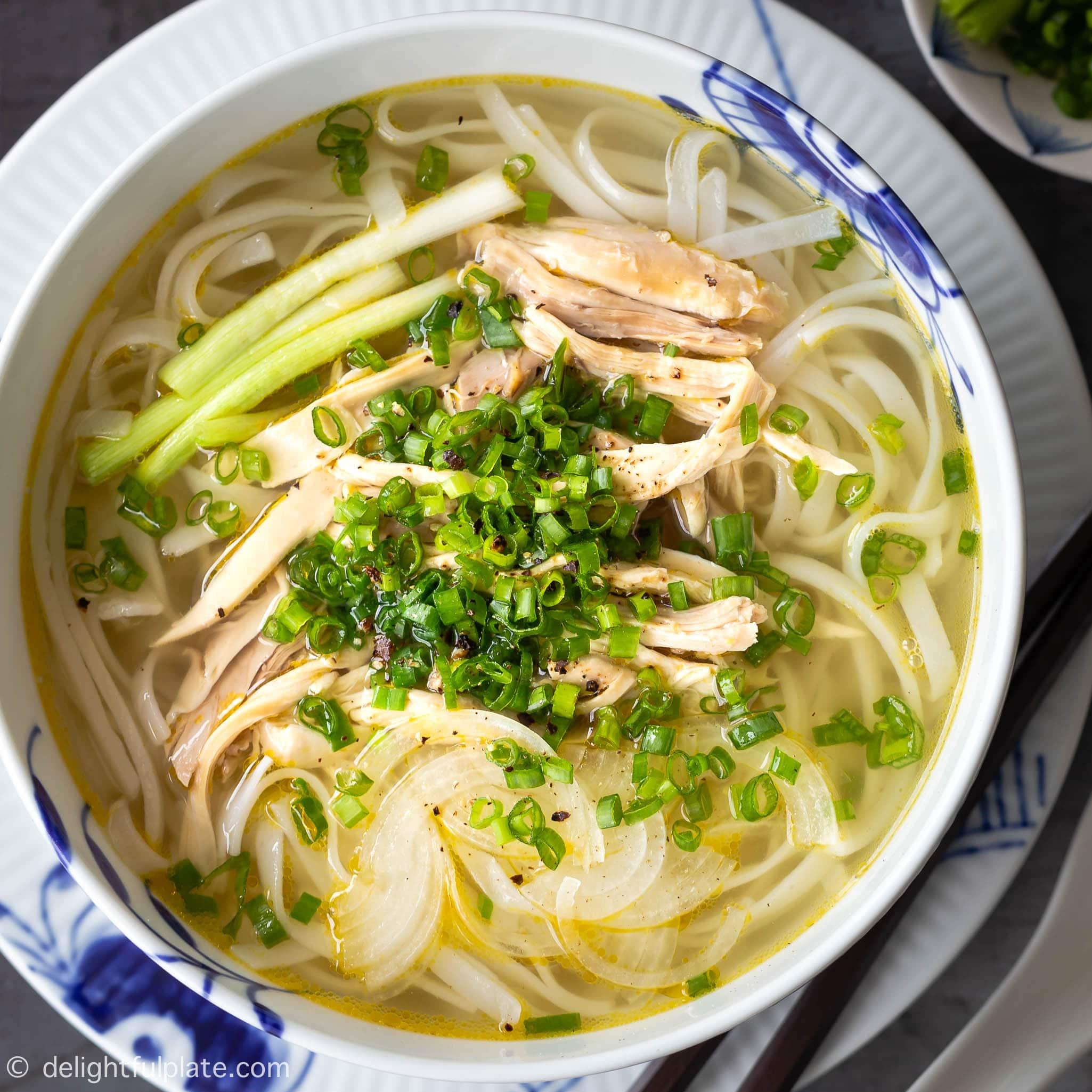 Authentic Pho Ga Vietnamese Chicken Noodle Soup Delightful Plate