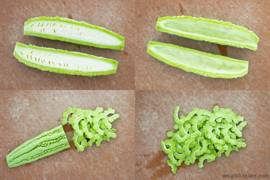 Prepare bitter melon for stir-frying: slice in half lengthwise, scoop out seeds and thinly slice.