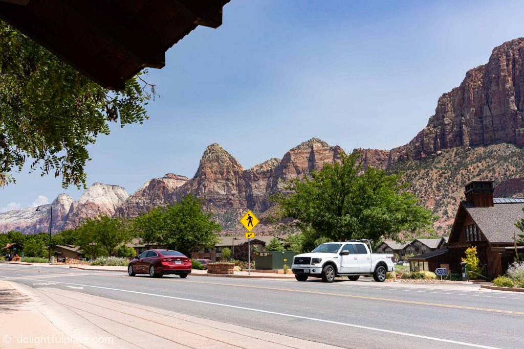 the main street in Springdale, Utah. Best place to stay when visiting Zion is Springdale.
