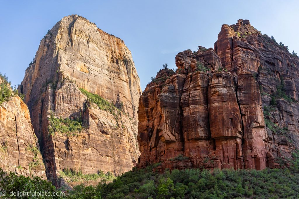 The Great White Throne (left) and the Organ (right) at Zion National Park