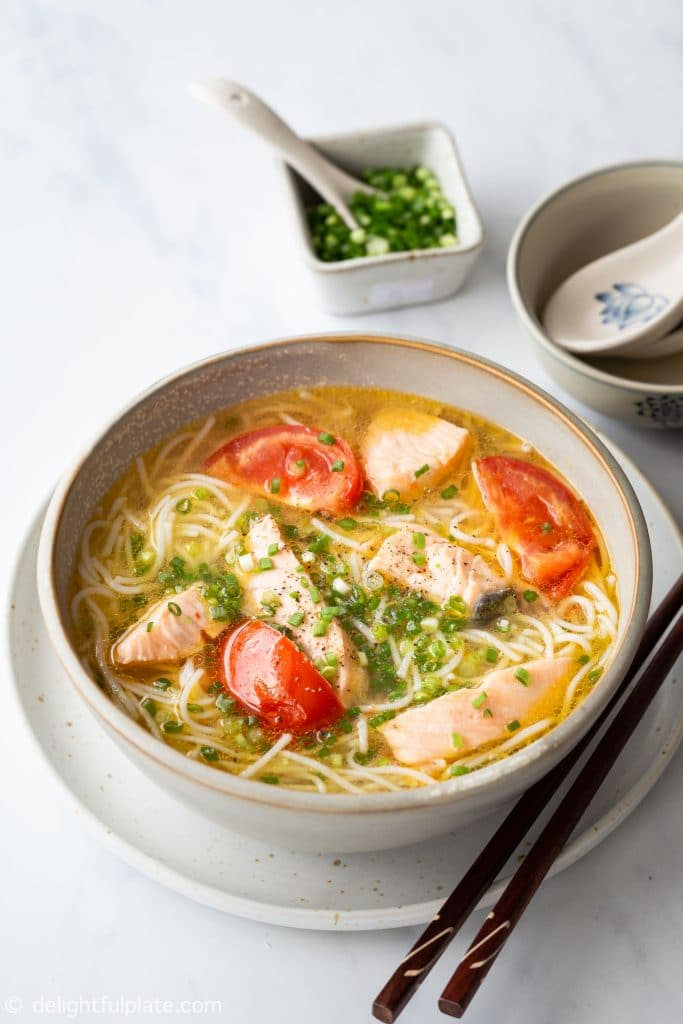 A bowl of salmon noodle soup with vermicelli noodles, salmon chunks and a Vietnamese style broth. Quick and easy to make.