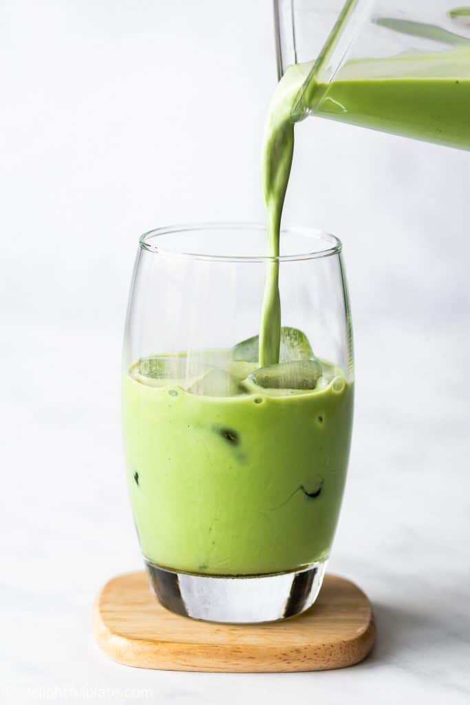 This Iced Matcha Latte is a tasty drink that can be made in your blender. It's slightly sweet, rich with a grassy note and lots of health benefits.