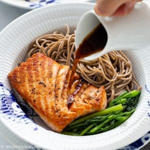 Seared Salmon Soba Buckwheat Noodle Salad, served with a ginger dressing