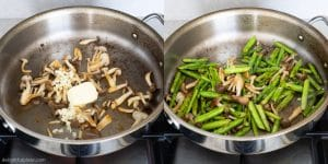 Sautéed Asparagus with Mushrooms Step 3: stir-fry all ingredients together briefly